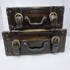 Vintage Stacking Trunks, Antique Decor Storage